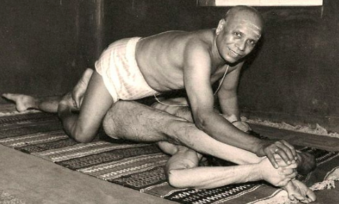 Patthabi Jois yoga adjustment