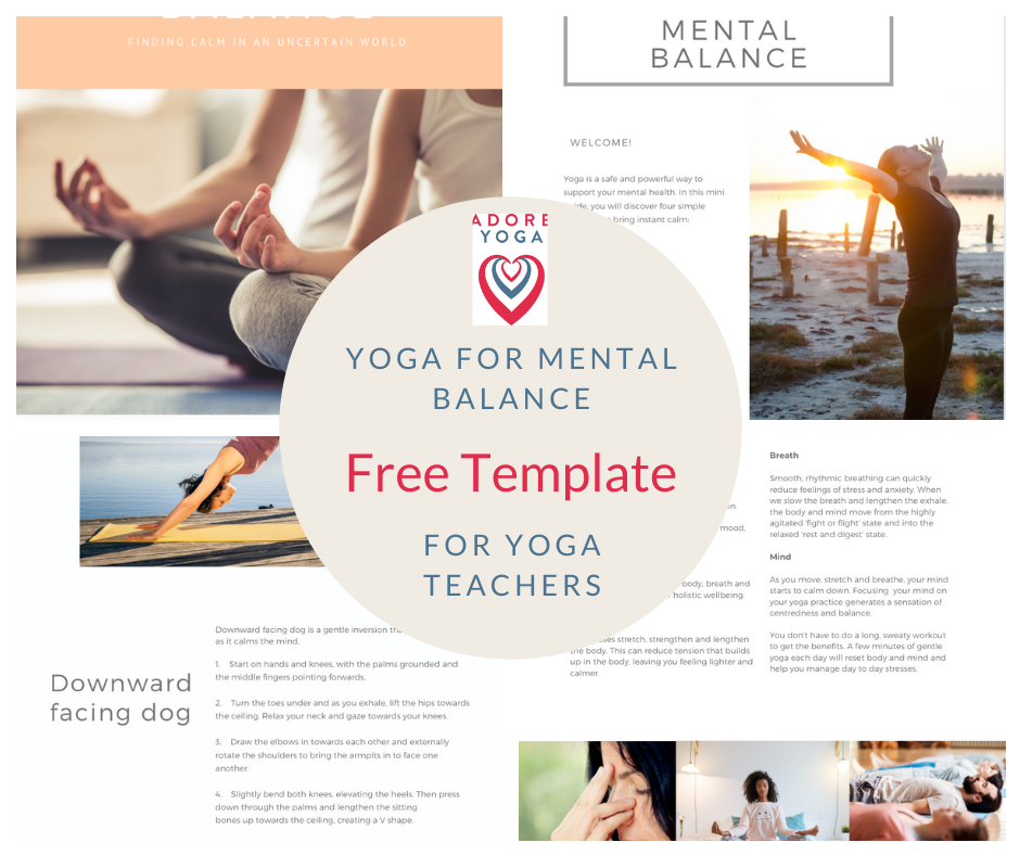 Free 'yoga for mental balance' template for yoga teachers